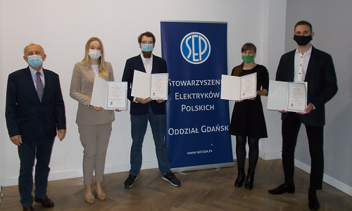 Students from the Faculty of Electrical and Control Engineering win the 7th edition of the competition for the best engineering thesis organized by SEP, Gdańsk Branch